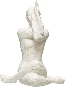 Bloomingville Boho-Inspired Resin Yoga Figure with Volcano Finish Accent Piece Décor, White