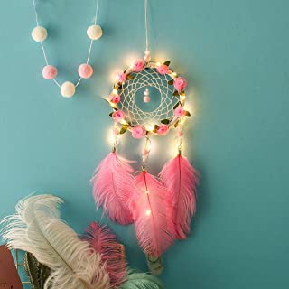Gotian LED Handmade Bohemian Dream Catcher, Wall Car Home Art Hanging Dreamcatcher with Feathers and Beads, Traditional Crochet Design Decoration Ornament Craft Gift (A)