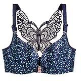 Front Closure Seamless Push Up Bra Plus Size Bralette Butterfly Bras Women Sexy Wireless Brassiere Blue Leopard