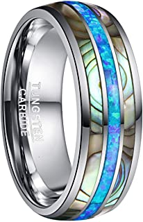 NUNCAD Men`s 8mm Tungsten Carbide Ring Real Blue/Green Opal and Abalone Shell Wedding Engagement Ring Band Size 5 to 15