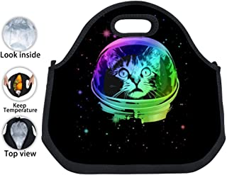 ENPENGOOD Cat Astronaut in Space Tin Foil Lunch Bag Waterproof Bento Tote Boxes Insulated Snack Handbags