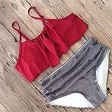 Charm4you Bikinis Mujer 2021 Braga,Bikini a Rayas de Cintura Alta de Gran tamaño con Volantes Traje de baño-Red_2XL #,Bikinis Mujer 2021 Push Up Conjunto con