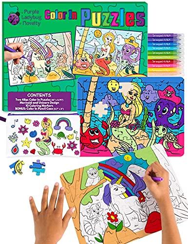 Purple Ladybug Zweifarbiges Mini Puzzle mit Meerjungfrauen und Einhorn-Motiv Bastel Puzzle Box mit 10 Verschiedenen Farbigen Stiften Inklusive Federtasche Kreatives Kinder Puzzle für Mädchen