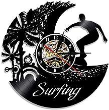 ZAWAGU Reloj de pared Vinyl Silent Quartz Gift Vintage Surf Hobby Record Lp Summer Beach Time Surf Black Wave Wall Decor Art Surfer