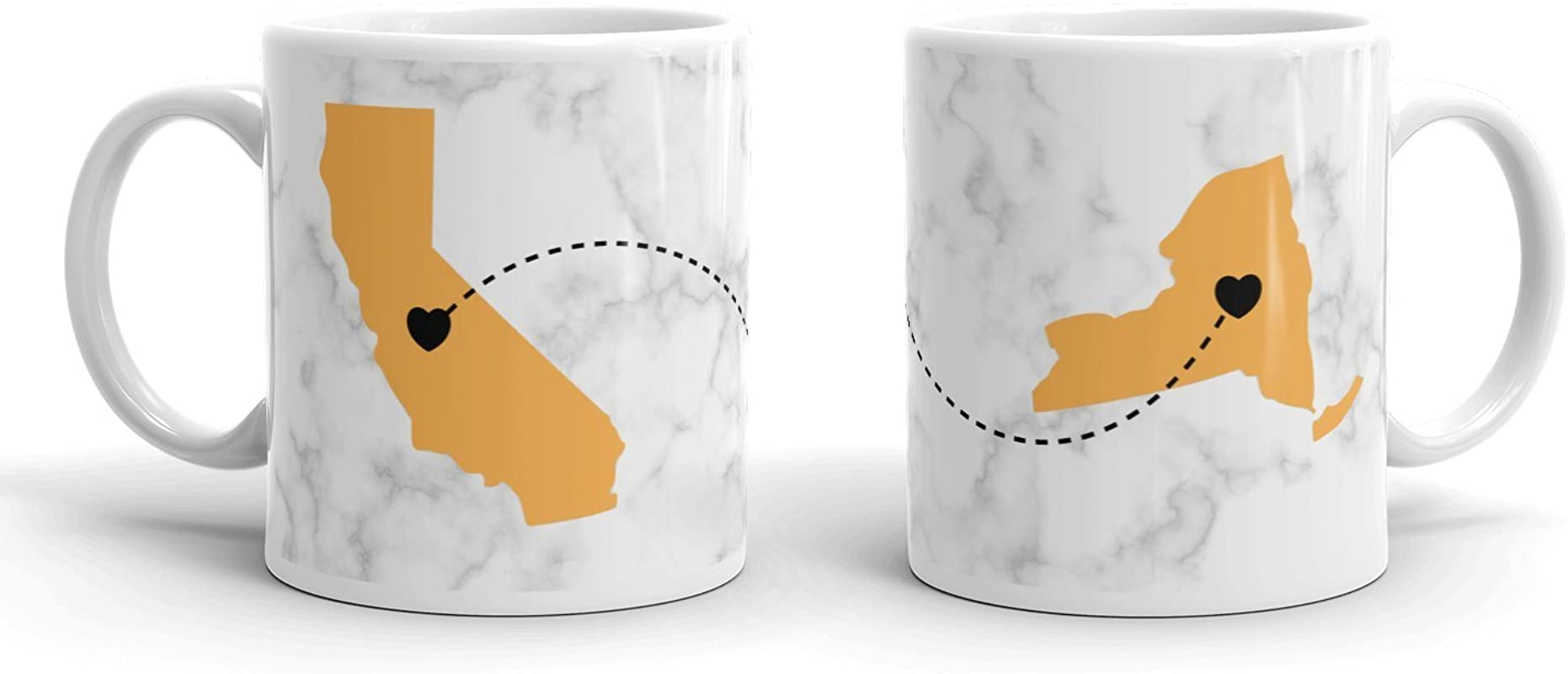 Best Friend Long Distance Anywhere Personalized Coffee Mug Gold On Marble Between Any US States Any Provinces Any Countries Share Your Love For Each Other With This Awesome Customized Gift