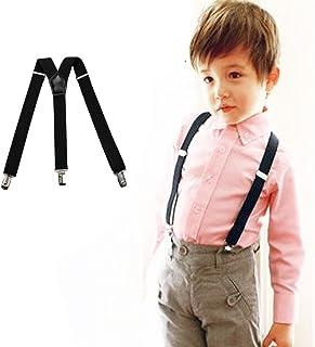 Adjustable Kids Suspenders PU Leather Y Shape Adjustable Braces with Metal Clips
