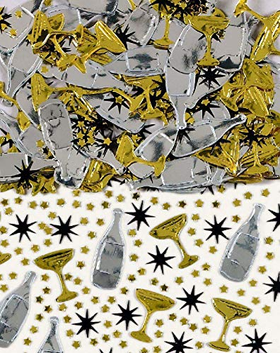 amscan International Confettis brodés en Forme de Verres et Bouteilles de Champagne 14 g