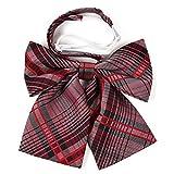Hirayuki リボン スクールリボン 50種類以上の豊富なバリエーション サイズ調節可能 ワンタッチ装着 良質な織り生地を使用 (ダークレッドXストライプ)
