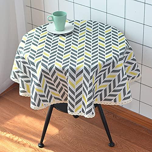 Mantel Resistente al Agua de imitación de Lino limpiable Mantel Redondo Cubierta de Mesa para Fiesta de niños