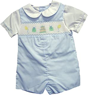Connie's Kids Baby Blue Boys Smocked Birthday Shortall Infant Sizes