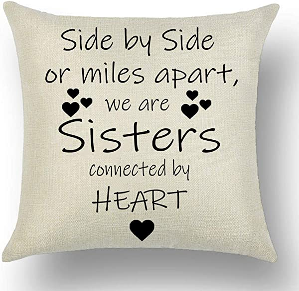 WePurchase Hand Painted Words Side By Side Or Miles Apart We Are Sisters Connected By Heart Quote Love Cotton Linen Decorative Home Sofa Living Room Throw Pillow Case Cushion Cover Square 18x18 Inches