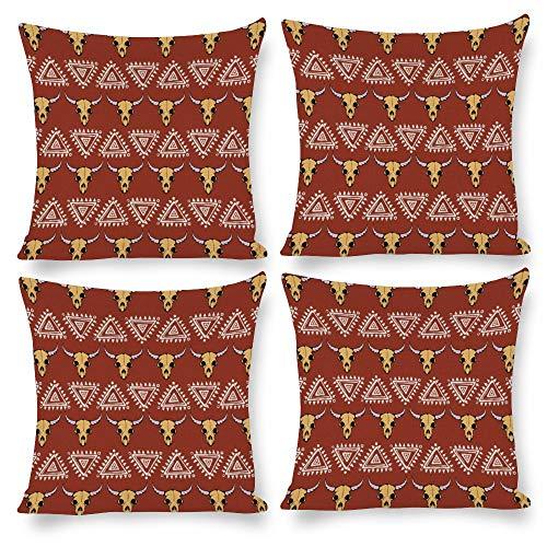 Paquete de 4 fundas de almohada de 18 x 18 cm, diseño de calavera de vaca boho Longhorn con plumas para ropa de cama, sofá, silla, silla, asiento, sofá, banco, suelo, sala de descanso, salón, hotel, Halloween,