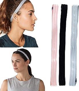 Ushiny - Fascia elastica per capelli sportiva, da corsa, per yoga, fascia tergisudore, accessori per donne e ragazze (3 pe...