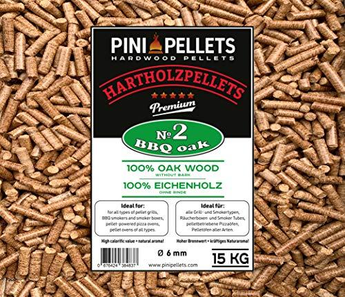 PINI Grillpellets 15 kg - Pellets de madera 100% roble No2 para asar, ahumar, también para hornos de Pizza operados con pellets