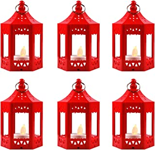 Vela Lanterns Mini Candle Lantern with Flickering LED Tea Light Candle, Batteries Included, Red, Set of 6