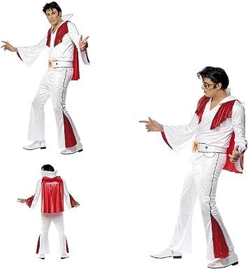 Disfraz de Elvis Presley para adulto, blanco y rojo, con ...