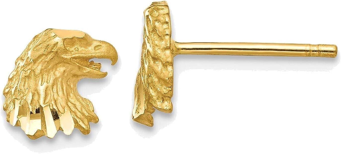 Diamond-cut Eagle Earrings in 14K Yellow Gold