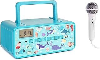 auna Kidsbox – Altavoces con CD, Reproductor de CD, micrófono de Mano, Bluetooth, Puerto USB, Pantalla LCD, Funciona con C...