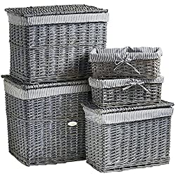VonHaus Natural Wicker Storage Baskets