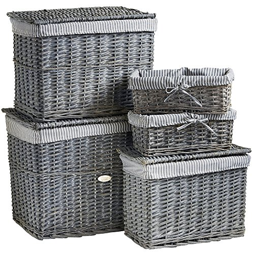 VonHaus Set of 5 Natural Wicker Storage Baskets and Trunks - Display Hamper and Storage for Bathroom, Living Room, Kitchen or Lounge - Decorative Gift Boxes w/Removable, Washable, Striped Lining
