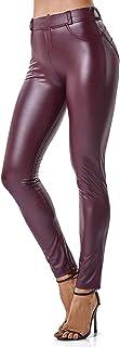 comprar comparacion FITTOO Mujeres PU Leggins Cuero Brillante Pantalón Elásticos Pantalones para Mujer