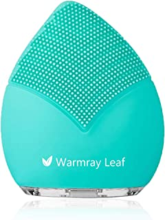 Warmray Leaf Sonic Face Brush, Cleanser and Massager, Ultra Hygienic Soft Silicone Facial Cleansing Brush for Every Skin Type USB Rechargeable (Tiffany Blue)