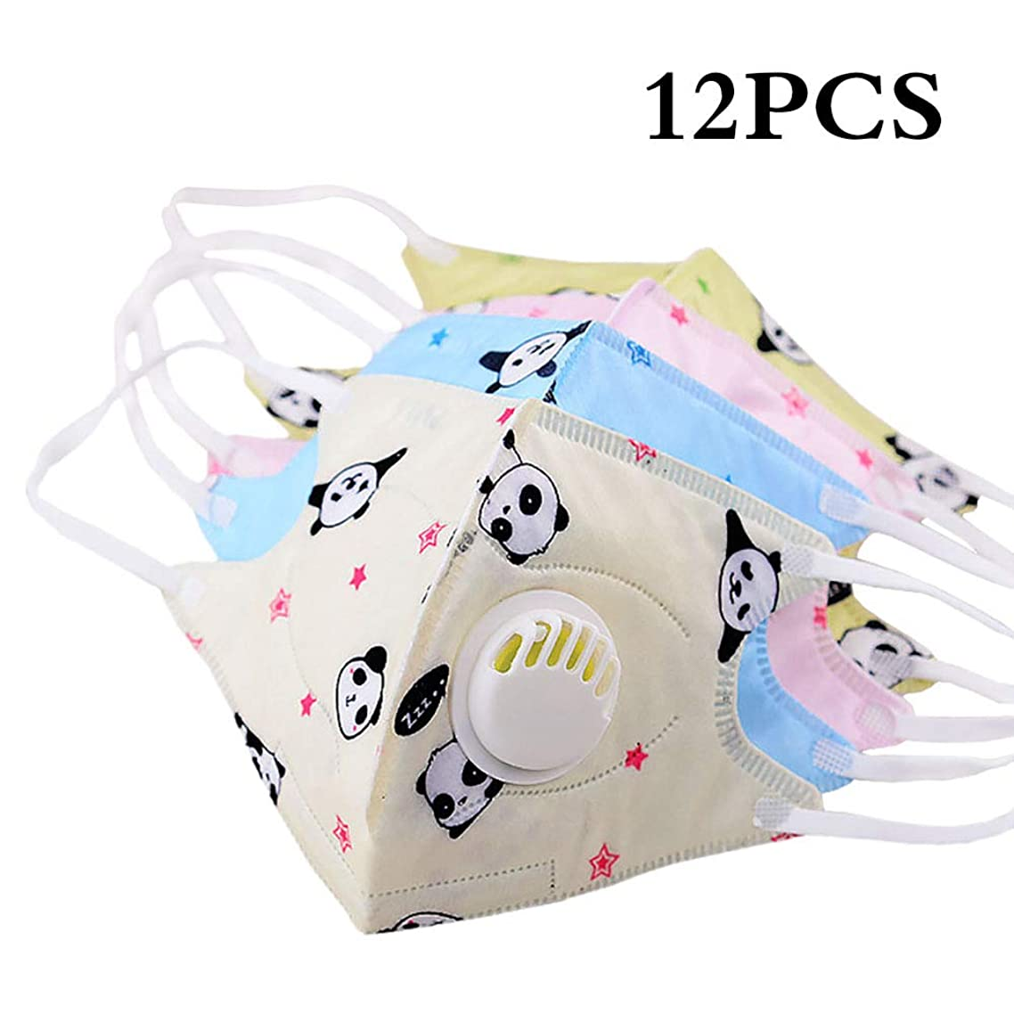 Cartoon Cute PM2.5 Anti-Dust Mouth Face Mask for Kids Disposable Non-Woven Fabric Masks With Respiration Valve (12PC Panda)