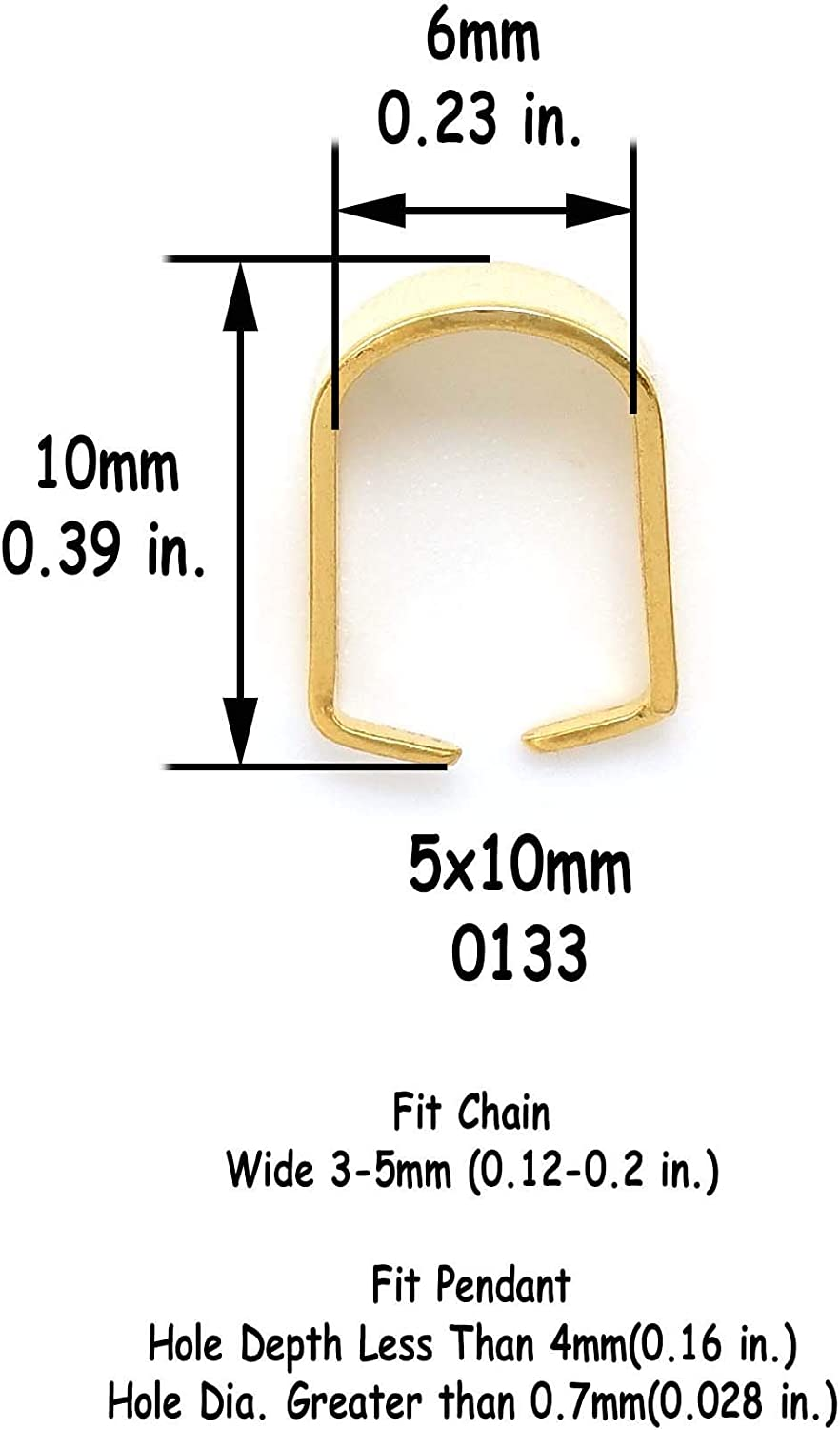 0132 30 PCS 304 Stainless Steel 18 K Gold Plated Pinch Clasps Bails for Pendant Charms 4x9mm Snap Open Clips Bail Connector Metal Findings Supplies for Jewelry Making
