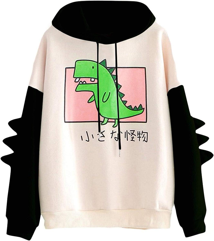 Sweatshirts for Women,Dinosaur Hoodies Long Sleeve Splice Cute Sweatshirt Teens Girls Casual Pullover Graphic Tops