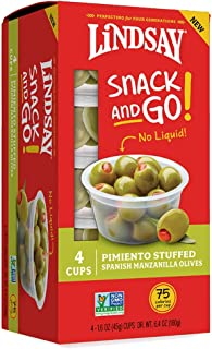 Lindsay Snack and Go! Pimiento Stuffed Spanish Manzanilla Olive Cups, 4 Pack (Case of 4)