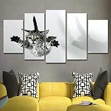Hgjfg Pegatinas De Pared Sala De Estar De Lona Imágenes Hd Decoración Para El Hogar 5 Paneles Animal Lovely Cat Painting Wall Art Cartel Modular Marco Moderno