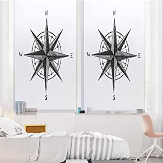 Compass 3D No Glue Static Decorative Privacy Window Films, Seamanship Hand Drawn Windrose with Complete Directions North South East West Decorative,17.7