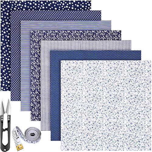 7 Pieces Cotton Craft Fabric Bundles Cotton Patchwork Fabric 20 x 20 Inches Square Quilting Sewing Patchworks Multi-Design Cotton Fabric with Tape Measure and Scissors (Navy Blue Series)