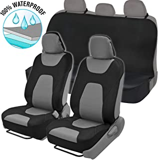 NeoCloth Waterproof Car Seat Covers Protector Full Set w/Back Bench – Heavy Duty Black/Gray