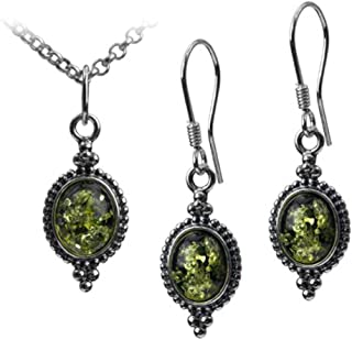 Sterling Silver Green Amber Vintage Oval Hook Earrings Pendant Set Chain 18 Inches