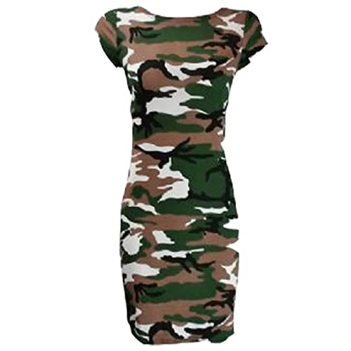WOMEN GIRLS NEW KHAKI DRESS CAMOUFLAGE SHORT SLEEVE  DAY CASUAL UK 6 8 10 12 14