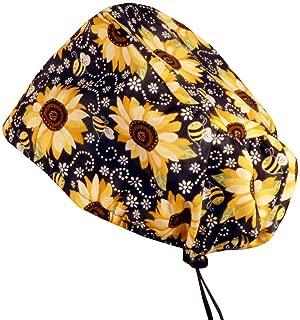 Sparkling Earth Riley Bouffant Scrub Caps - Sunflowers on Black