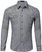 XI PENG Men's Dress Long Sleeve Flannel Shirt Thermal Plaid Checkered Jacket (Black Tartan, XX-Large)