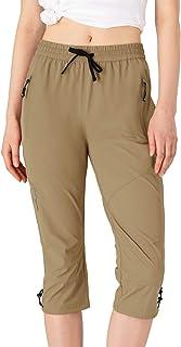 Rdruko Women's Hiking Capris Pants Outdoor Water Resistant Lightweight Golf Cargo Pants