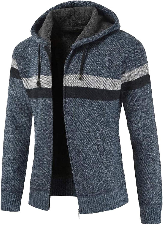 Jxfd Mens Classic Stripe Print Thicken Warm Sweater Jacket Sweater Cardigan