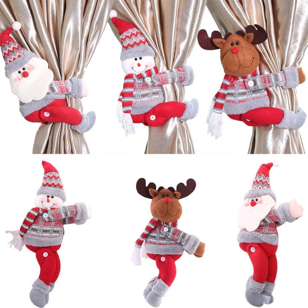 Clip per Tende per Decorazioni Natalizie iSpchen Fibbia della Tenda di Natale del Fumetto Babbo Natale Pupazzo di Neve Alce Fibbia della Tenda