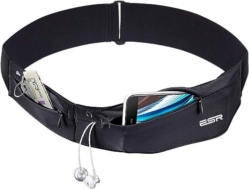 ESR Running Belt Runners Waist Pack Adjustable Stretchy Zippered Fanny Pack with Headphone Port, Fitness Workout Trav...