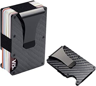 Carbon Fiber Wallet RFID Blocking Credit Card Case Anti-theft Cards Holder Black Metal Slim Money Clip for Men