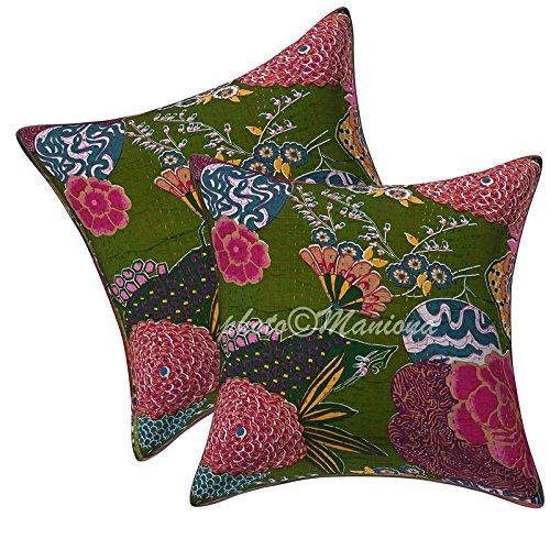 Kantha travail Floral et fruits Housse de coussin carré en coton ethnique Canapé Taie d'oreiller Couvre-lit Taie d'oreiller