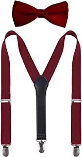 SUNNYTREE Kids Mens Suspenders and Bowtie Set Leather Y Back