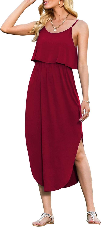 LILBETTER Women's Adjustable Strappy Split Summer Beach Casual Midi Dress