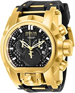 Men's Reserve Stainless Steel Quartz Watch with Silicone Strap, Black, 34 (Model: 25607)