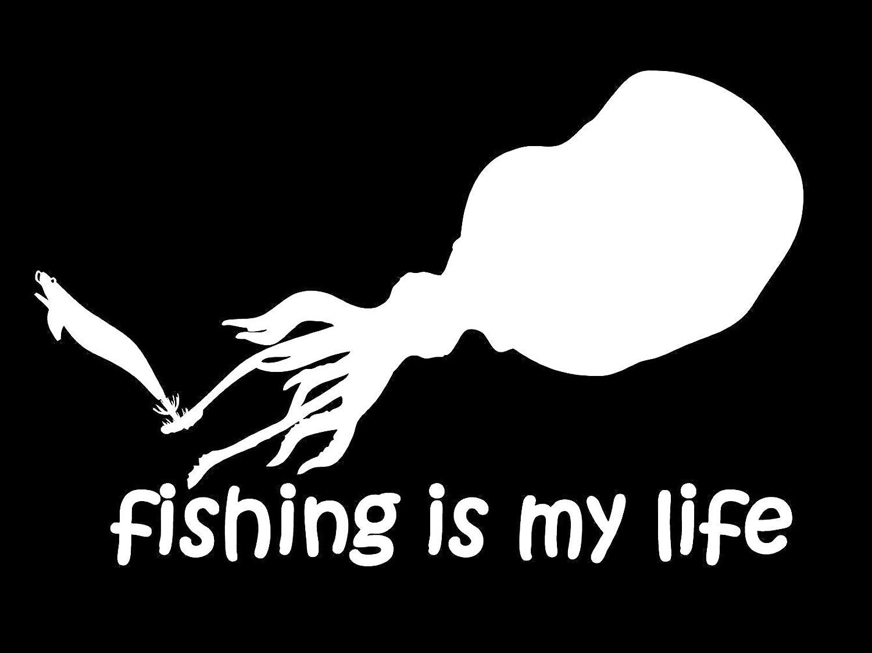 【オルルド釣具】フィッシングステッカー 「 fishing is my life (訳:釣りは我が人生!) エギ最高!アオリイカver. 15×8.5cm 」 貼付用ヘラ付 クーラーボックス?車などのドレスアップに最適 釣りステッカー カーステッカー デカール シール 魚 ロゴ 文字 外装 デザイン モノクロ qb600020
