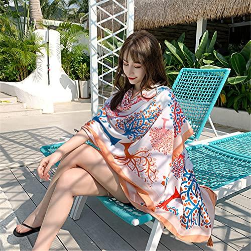 RZHIXR Bufanda De Seda Ligera Y Transpirable Impresa A La Moda, Toalla De Playa con Protección Solar Junto Al Mar, Bufanda Tipo Chal De Vacaciones (90X180Cm)