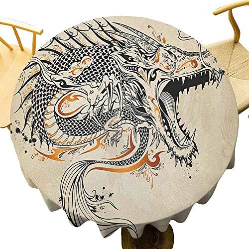 VICWOWONE Mantel de dragón japonés – 40 pulgadas redondo estilo Doodle criatura rugiendo con colmillos cola escalas detalles tribales diseño sin costuras marrón negro dorado